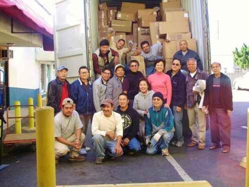 Photo taken after the 40-foot container was loaded with hospital supplies, hospital beds, and textbooks on December 22,